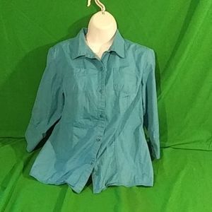 Columbia M blue 3/4 sleeve button down top